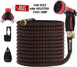 Expandable 100FT Garden Water Flexible Hose 10 Function 4Layers Latex Heavy Duty $32.98