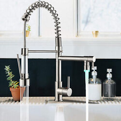 LED Kitchen Sink Faucet Swivel Mixer Tap W Pull Down Sprayer Brushed Nickel