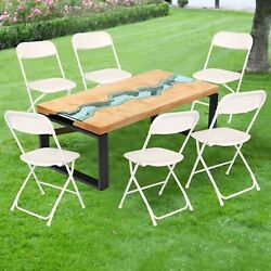 Lonabr 6PCS Commercial White Folding Stackable Chairs Wedding Party Dinner Event