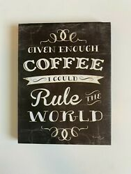 Black Distressed Home Decor Kitchen Coffee Plaque Sign NEW W Tags Free Shipping $11.49