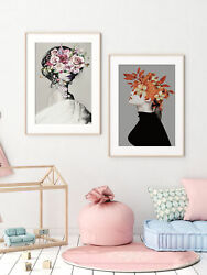 3Pcs Flower Hair Girls Abstract Wall Art Canvas Poster Print Home Picture Decor $14.59