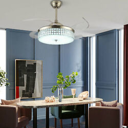 42 Inch Invisible Ceiling Fans W 3 Color LED Light Fan Chandelier And remote US $138.00