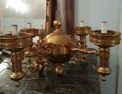 BEAUTIFUL solid Brass Vintage Chandelier Art Nouveau Style Colonial Williamsburg $99.00