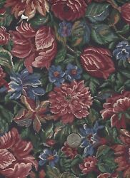large scale Mauve flowers amp; green leaves tapestry look BTY floral fabric 44 wide $2.50