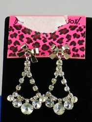 Betsey Johnson Silvertone ICONIC COLLECTION Clear Crystal Chandelier Earrings $18.99