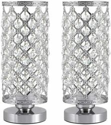 Crystal Lamps Modern Bedside Desk Lamps Set of 2 Small Nightstand Lamp $34.99