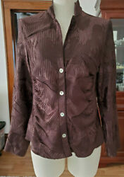 Robert Kitchen Canada Brown Crinkle Button Up V Neck Top Size M $22.00