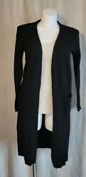 Halogen Cashmere Wool Blend Long Open Front Cardigan Sweater Size M $24.90