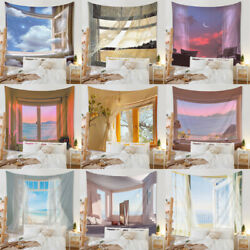 Wall Decor Tapestry Hanging Room Window Scenic Cloud Decoration Wall Art Carpet $15.99