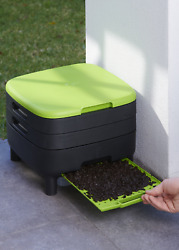 Worm Farm Composting Bin Recycled Plastic Compact w Open Drain Optimal Air Flow $117.23