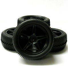 66011 031 1 10 Off Road Front Rear Buggy RC Wheels Pin Tyres 5 Spoke Black x 4 $25.06
