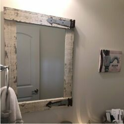 Rustic Wall Mirror Accent Vanity Farmhouse Reclaimed Distressed Wood Bath White $79.33