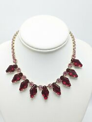 Vintage Unsigned Pink amp; Red Glass Rhinestone Choker Necklace 16quot; $32.49