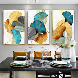Art Paintings Ginkgo Plant Leaf Abstract Poster Print Wall Living Room Decor US $7.58