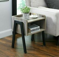 Industrial Style Side Table Vintage Bedside Cabinet Gray Stand Rustic Unit Wood $74.99