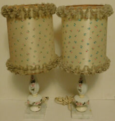 """Pair Table Lamps Set Pink 3D Roses Porcelain Marble Base 12"""" Tall 18quot; With Shade $20.00"""