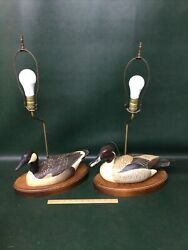 Pair Lamps Hand Carved Wooden Ducks Signed H Heap The Decoy Shop Freeport ME $225.00