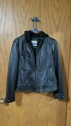 Wilson Vintage Leather Removable Hood Black Jacket Women#x27;s Size Small $40.00