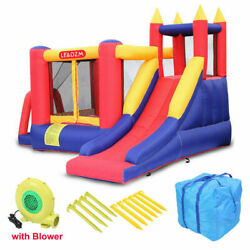 Safety Three Play Areas Inflatable Bounce House Kids Castle Slide with Blower $93.84