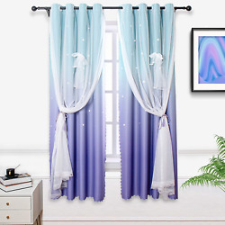 Hughapy Lilac and Turquoise Star Curtains for Kids Bedroom Girls Room Decor for $32.99