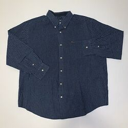 Chaps Easy Care Checkered Long Sleeve Blue and White Button Down Men#x27;s Size XXL $14.99