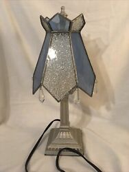 """Medium Accent Lamp Stained Glass Design With Crystal Beading Hanging 14""""t 7""""w $25.00"""