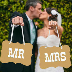 Vintage Style Mr amp; Mrs Rustic Wedding Banner Bunting Heart Chair Decoration OH C $3.62