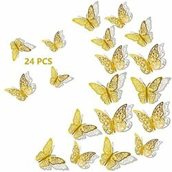 3D Butterfly Wall Decor 24Pcs 3 Sizes 2 Styles Removable Wall Srickers Butter... $8.87