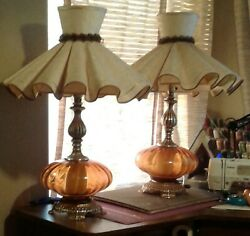 Pair of Vintage Table Lamps With Rare Ruffled Shades Large Living Room Lamps $130.00