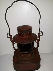 Vintage DIETZ 8 Day Oil Lantern Red Square Base with Red Globe $115.00