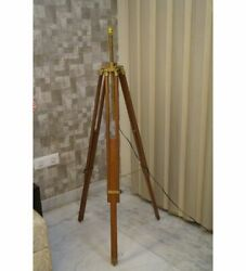 Antique Handmade Floor Shade Lamp Vintage Brown Wooden Tripod Stand Home Decore $125.20