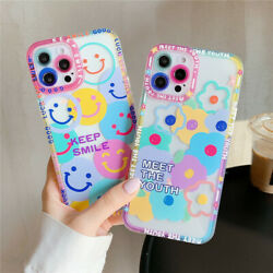 Cartoons Cute Graffiti Flowers Smiley Phone Case For iPhone 11 12 13 Pro Max XR $10.01