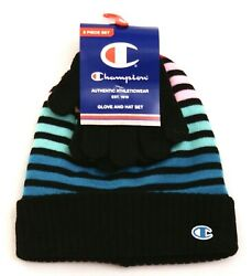 Champion Multi Color Striped Knit Cuff Beanie amp; Gloves Youth Boy#x27;s 8 20 NWT $22.49