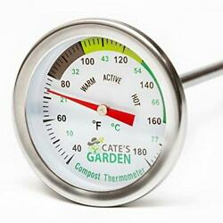 Compost Thermometer Cate#x27;s Garden Premium Stainless Steel Bimetal Thermometer $28.59