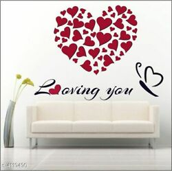 New Trendy Beautiful Vinyl Decorative Love Hearts For Bedroom Wall Stickers $12.98