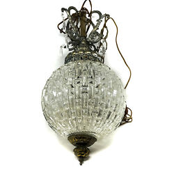 Vintage Crystal Globe Chandelier French Style Ball Shaped Pendant Light Bronze $499.97