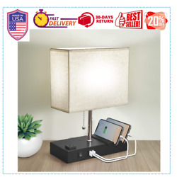 Bedside Table Lamp 3 Phone Stand Modern Lamp with Dual USB Port AC Outlet HOT $38.39