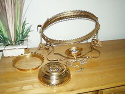 ANTIQUE 14 INCH HANGING OIL KEROSENE LAMP PARTS Replacement pieces crowns chain $48.50
