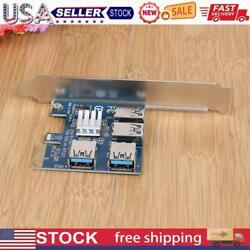 EUX1 04 PCIE 1 to 4 Slots Riser Card Adapter USB 3.0 PCIE for BTC Mining $26.76