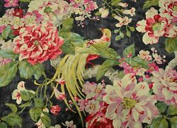Floral Engagement Nightfall Black Red Pink Floral Bird Print Waverly Fabric $25.99