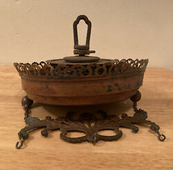 Vintage Victorian Copper Brass Hanging Oil Lamp Pull Down Motor $60.00