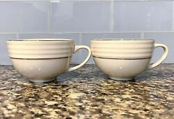 Antique White Ceramic Kitchen Coffee Cup Set With Gold Detail Heat Resistant $25.00