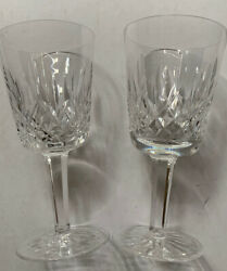 """Waterford Crystal Set 2 Wine Stems 6 7 8"""" Tall Signed Lismore $19.99"""