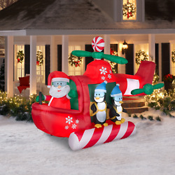 Large Helicopter Santa Inflatable Christmas Outdoor Holiday Decoration 9ft Long $147.98