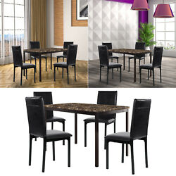5Pcs Dining Set Kitchen Room Table Set Dining Table w 4 Leather Chairs Black $300.79