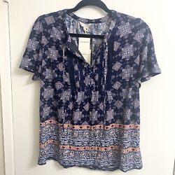 Lucky Brand Short Sleeve Peasant BOHO Blouse Blue Top Size Large With Tassels $22.99