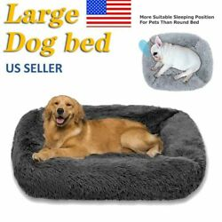 32in Large dog beds Large for Large Dogs Long Plush Pet Cat Calming Bed Mat $28.63