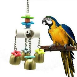 Pet Parrot Bite Chew Play Toys African Macaw Swing Hanging Bells for Birds Cage $9.89
