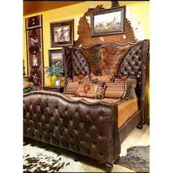 KING Western Bed Brown Faux Leather Genuine Hide OR Grey with Tooled Crocodile
