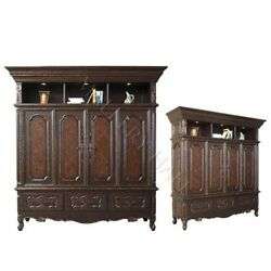 Kahlua Entertainment Center Gold Leafing Hand Carved